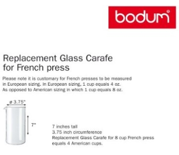 Bodum Coffee Press Replacement Glass Dimensions