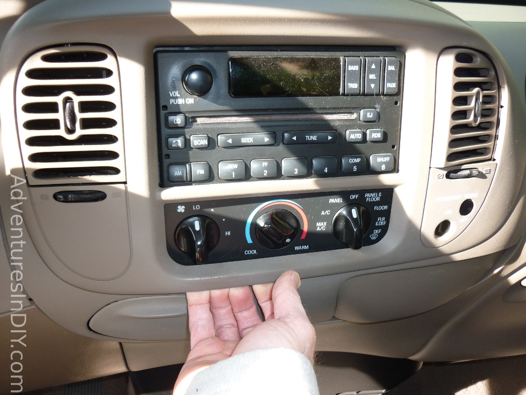 removing_front_dash_panel ford f 150 factory radio uninstall and new radio install