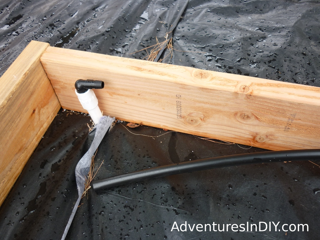 Black Irrigation Pipe Connected To PVC