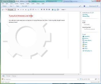 Windows Live Writer Screenshot