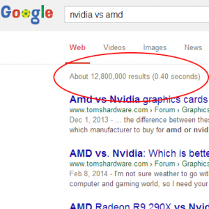 Nvidia vs AMD Google Search