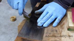 Cleaning The Ryoba Teeth With A Brass Brush