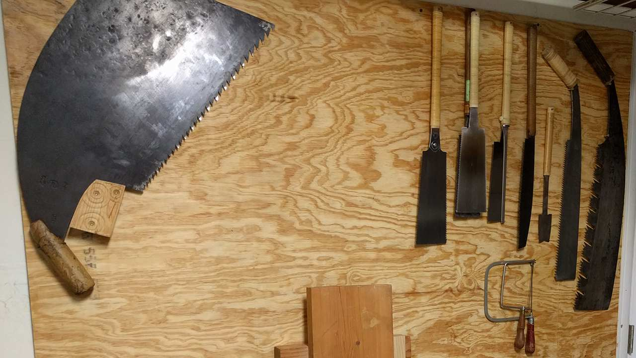 Shop Wall With Japanese Saws and Commonly Used Tools