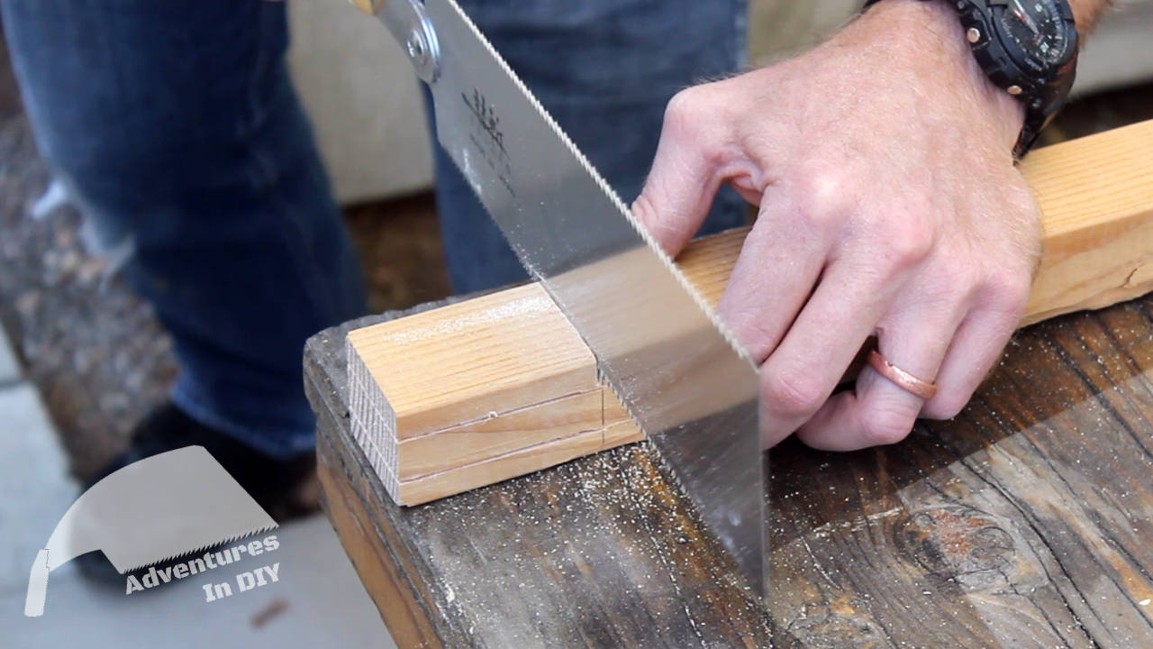 Using Suizan Ryoba To Cut A Tenon Made Of Douglas Fir