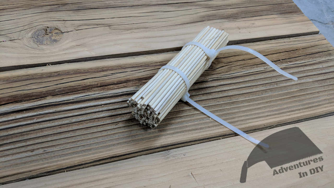 Bamboo Skewers Bundled To Compress Wood Fibers