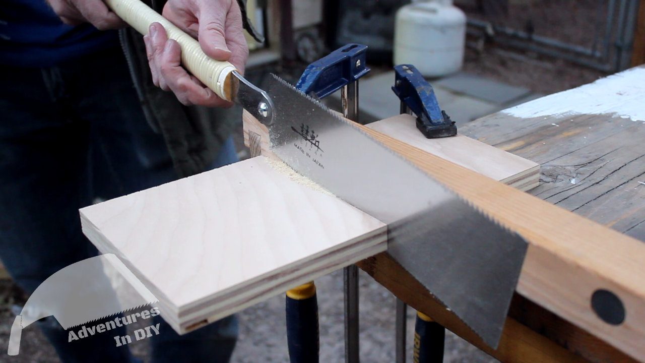 Cutting Plywood Reinforcement With Japanese Ryoba Saw