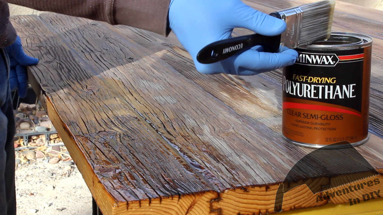 Putting Coats of Semi-Gloss Polyurethane On Reclaimed Table Top
