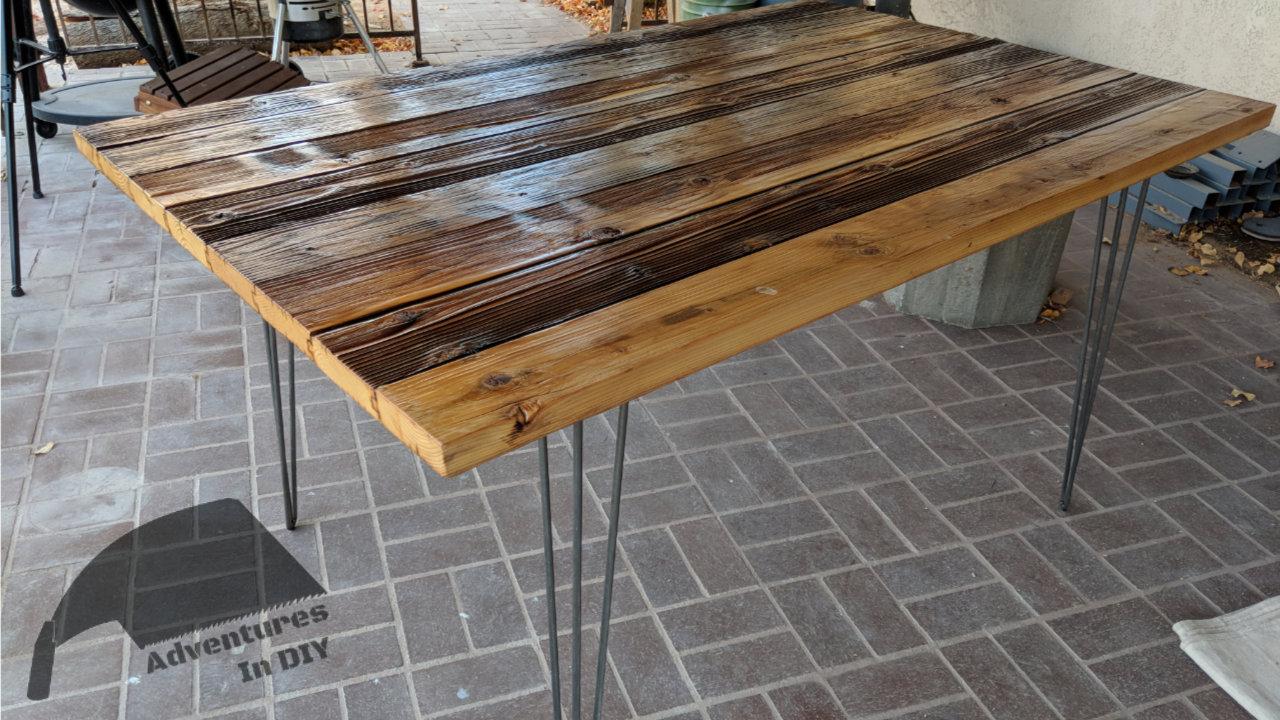 Reclaimed Wood Dining Table With Hairpin Legs Attached