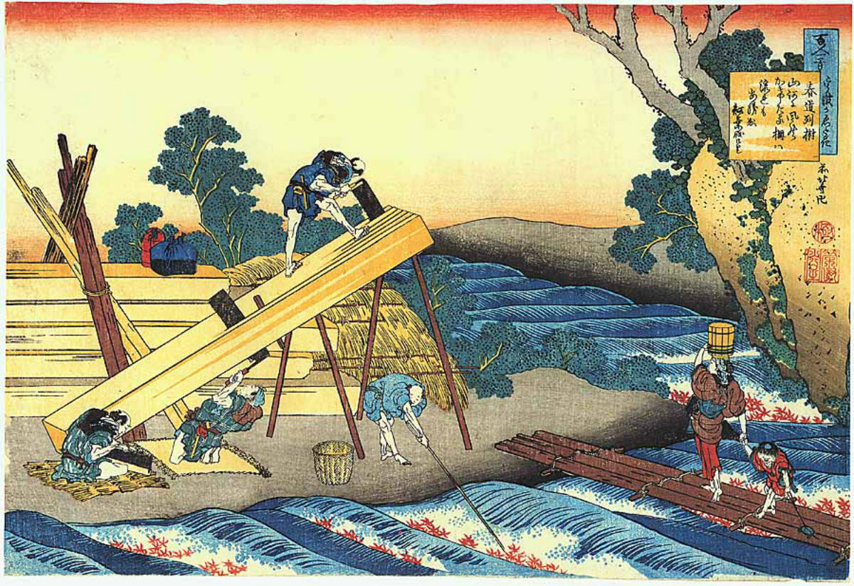 Sawyers cutting a log by Katsushika Hokusai 1839
