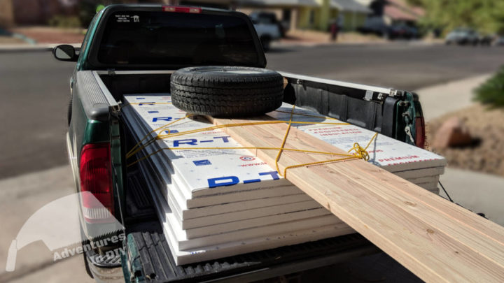 Truck Full of Rigid Foam and 2x4s