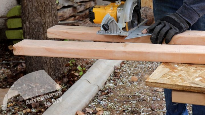 Using a Speed Square to Cut the 2x4 to Length
