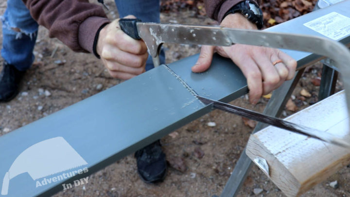Cutting the Center Piece of the Sill Pan to Fit
